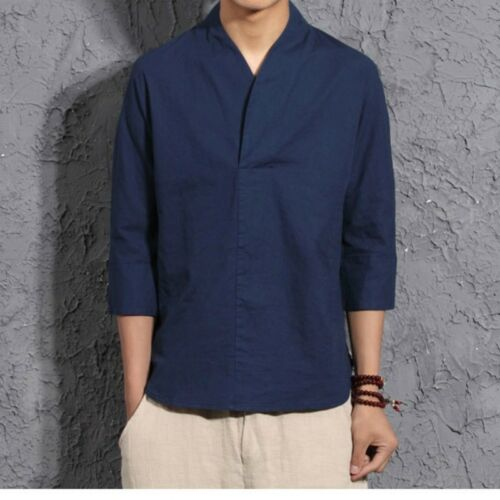 Mens Chinese Vintage Casual Cotton Linen Shirts Hanfu Tops T-shirt Traditional