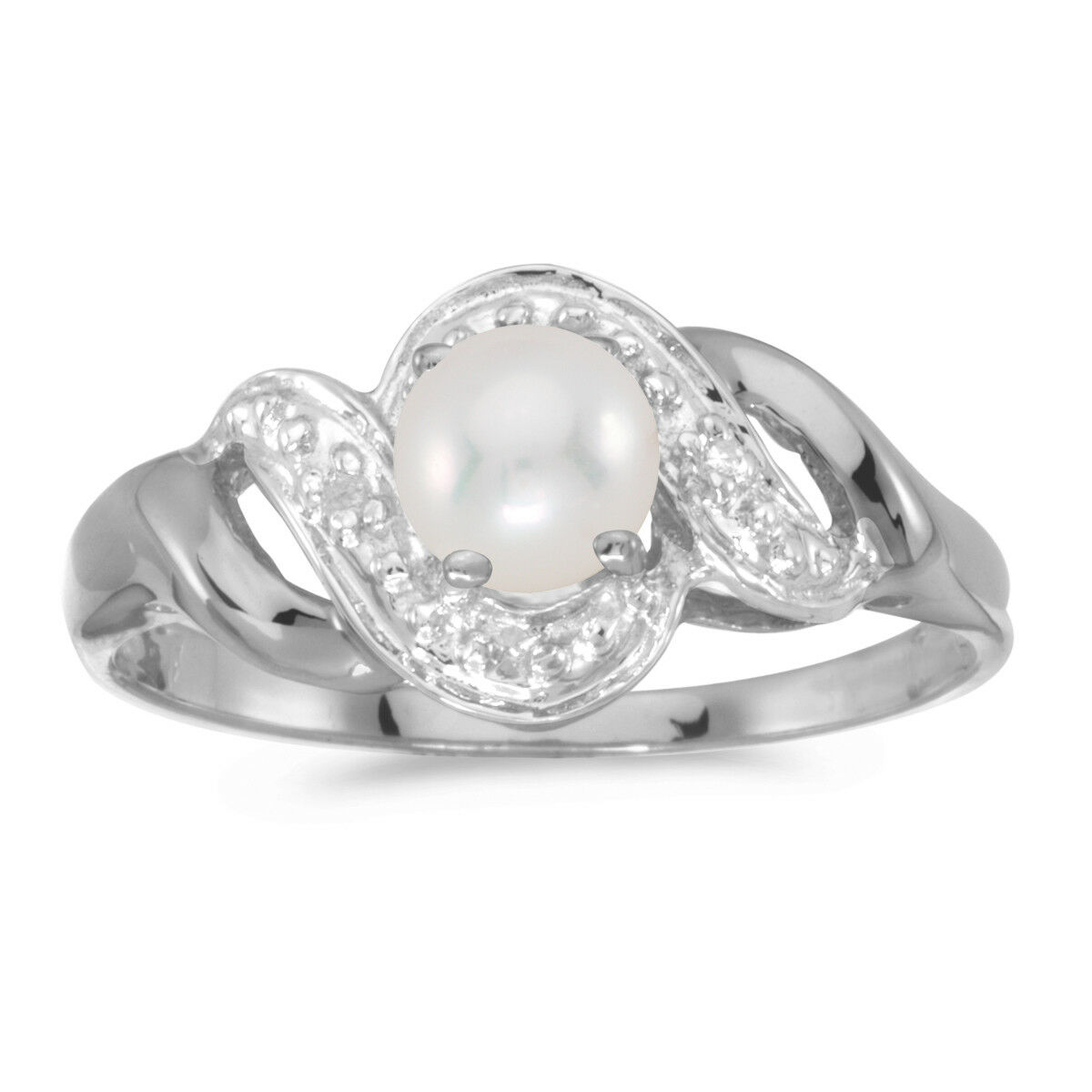 10k White gold Freshwater Cultured Pearl And Diamond Swirl Ring