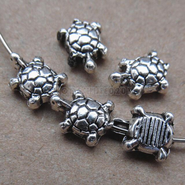 25pc Retro Tibetan Silver Tortoise Spacer Beads Accessories Jewelry Making PJ130
