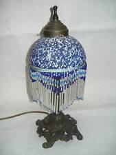 Lampada da tavolo in ottone con vetro a perline blu
