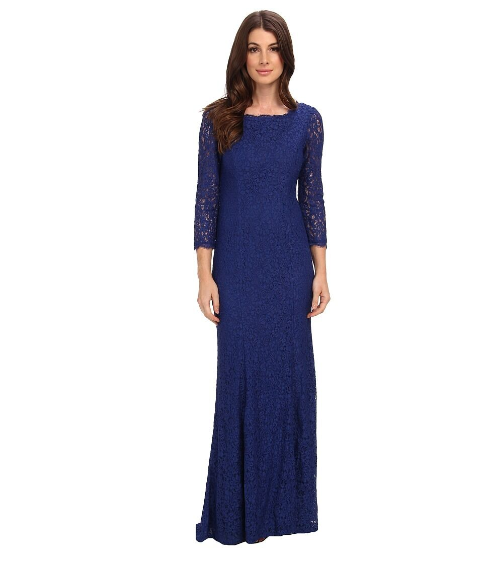 Adrianna Papell Prussian bluee Lace Mermaid Gown 3 4 Sleeves Dress - NWT Size 4