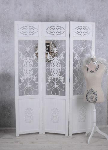 Cloison Blanc Paravent Style Maison de campagne vue protection séparateur de pièce bois avec métal NEUF