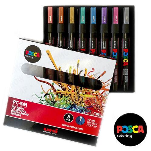 Uni Posca PC-5M Kunst Malerei Markierstifte Metallisch Satz von 8 in
