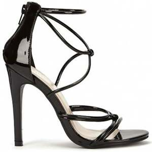 4f8bade30aa6 Image is loading BLACK-PATENT-ANKLE-STRAP-STILETTOS-STRAPPY-SANDALS-PEEP-