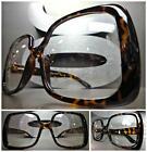 OVERSIZED VINTAGE RETRO Style Clear Lens EYE GLASSES Huge Square Tortoise Frame