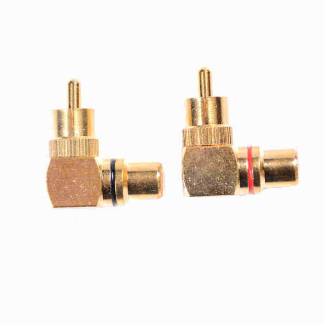 2pcs/set Gold Plated Right Angle RCA Adaptor Male to Female Plug Connectors J&S