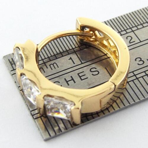 GENUINE REAL 18K YELLOW G//F GOLD DIAMOND SIMULATED GIRLS HOOP EARRINGS