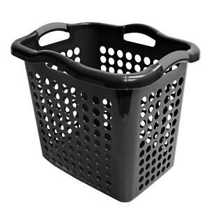 black large laundry basket clothes hamper washing organizer plastic linen bin ebay. Black Bedroom Furniture Sets. Home Design Ideas
