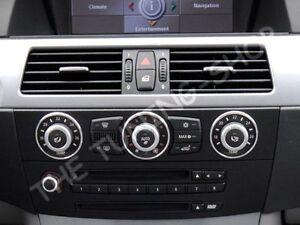Fits-2004-2010-BMW-E60-E61-A-C-Heater-Trim-Rings-Brushed-Aluminium-New