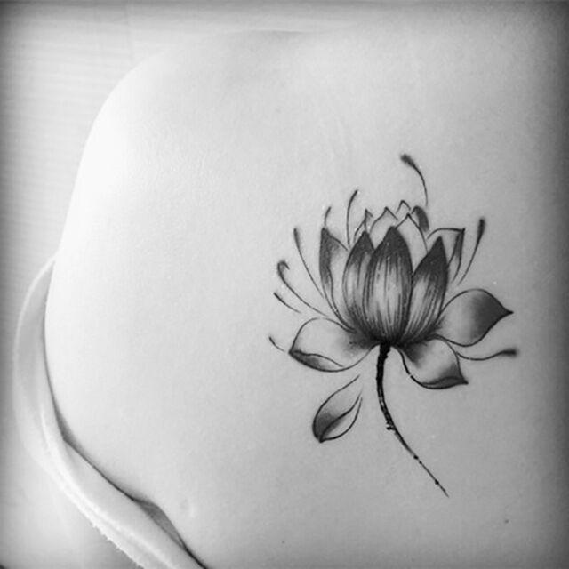 Black Waterproof Lotus Flower Tattoo Stickers Floral Temporary Body Art Tatto LT