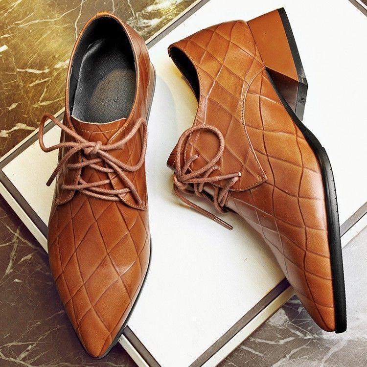 Mujer Retro Con Cordones Tacones Tacones Tacones Bloque De Puntera Puntiaguda Wing Tip Cuero Oxford Zapatos @BT02  60% de descuento