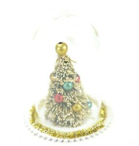Retro-Vintage-Style-Glass-Christmas-Tree-Cloche-Ornament-4-5-Inch-Tall-NEW