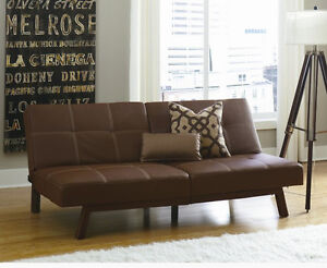 NEW Brown Futon Sofa Bed Faux Leather Split Back - Perfect for Dorm! SHIPS FREE