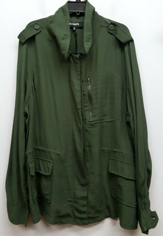 BB DAKOTA Größe 2X Grün Button Front Zipper Accent Blouse Shirt Jacket Top