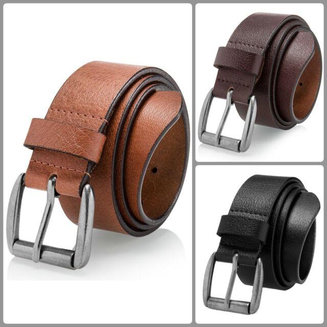 Mens Casual Jean Belt Soft Full Grain Leather Roller Buckle 38MM Black Brown Tan