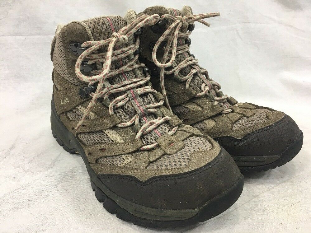 LL Bean Womens 9 M Hiking Trail Boots Suede Mesh Beige Pink Hi-Top Lace Up