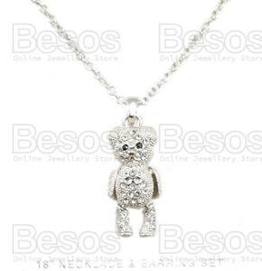 CRYSTAL TEDDY BEAR articulated limbs pendant NECKLACE&CHAIN silver rhinestone UK