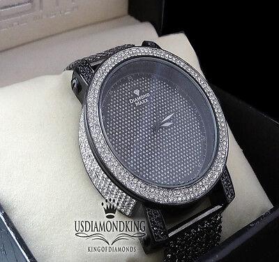 MEN'S NEW DIAMOND MAX BLACK GOLD FINISH GENUINE DIAMOND+7 ROW CUSTOM BAND WATCH