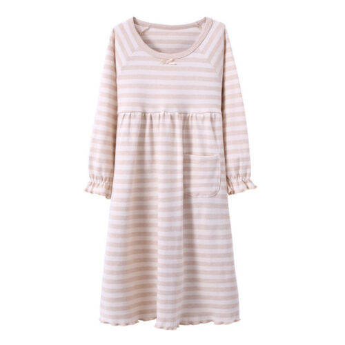Kids Girls Pajamas Sleepwear Long Sleeve Nightwear Cotton Night Dress Nightgown