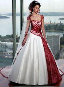 Massgeschneidert Gunstig Rot Weiss Brautkleid Abendkleid Brautkleid