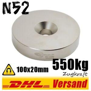 Neodym-Magnet-Scheibe-100x20-mm-550kg-mit-Bohrung-N52-Dauermagnet-Hightech-power