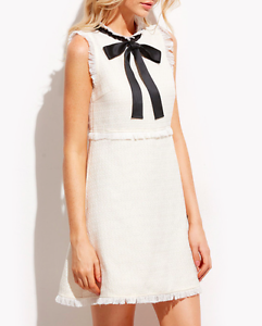 AU-seller-White-frayed-tweed-party-office-dress-with-bow-tie-details
