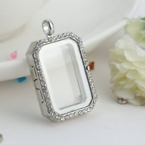 Silver-Floating-Charm-Living-Memory-Square-Crystal-Glass-Locket-Necklace-Pendant