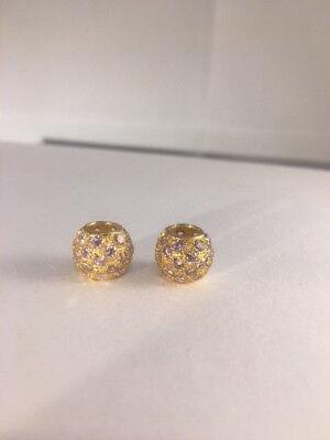 9ct Gold Pink C//Zirconia Ball Twist Hoop Set  3.4cms Diameter  2mm Thick  NEW