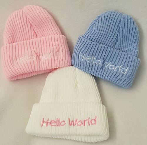 New Born Baby tricot laine brodé Hat Baby Shower Cadeau Rose Bleu Blanc