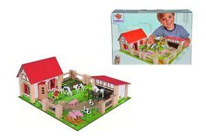 Eichhorn Kl. Holz Bauernhof 23 Teile, Farm,Stall, Tiere, Kuh, Pferd, Schwein uvm