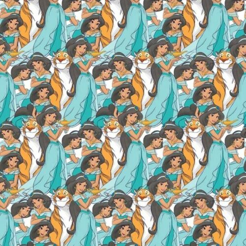 Disney Princess Jasmine Packed Rajah Seafoam Green Cotton Fabric Fat Quarter