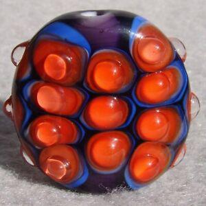 HYPERBOLE-Handmade-Art-Glass-Focal-Bead-Flaming-Fools-Lampwork-Art-Glass-SRA