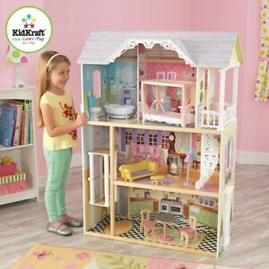 Details About Kidkraft Kaylee Dollhouse Girls Wooden Doll House Fits Barbie Dolls