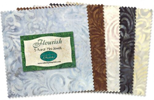 "24 Wilmington Print 5 Karat Mini-Gems Batik Flourish 5/"" Fabric Squares"