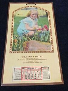 Vtg 1952 Calendar Gilbert's Dairy Swartz Creek MI Complete Girl Flowers S93