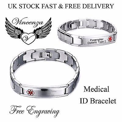 Edelstahl Notfallausweis Klobig Armband Für Herren Damen Unisex Vincenza