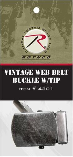 Brass /& Chrome Vintage or GI Type Web Belt Buckle With Tip Pack Vintage Black