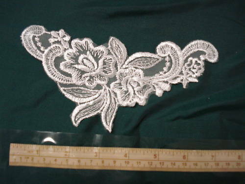 BRIDAL LACE TRIM*WHITE RAYON SCHIFFLI 7 IN BY 3 1//4 IN 1-pair
