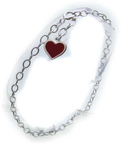 Fußkettchen mit Herz rot Silber 925 Sterlingsilber Ankerkette 25 cm Fußkette