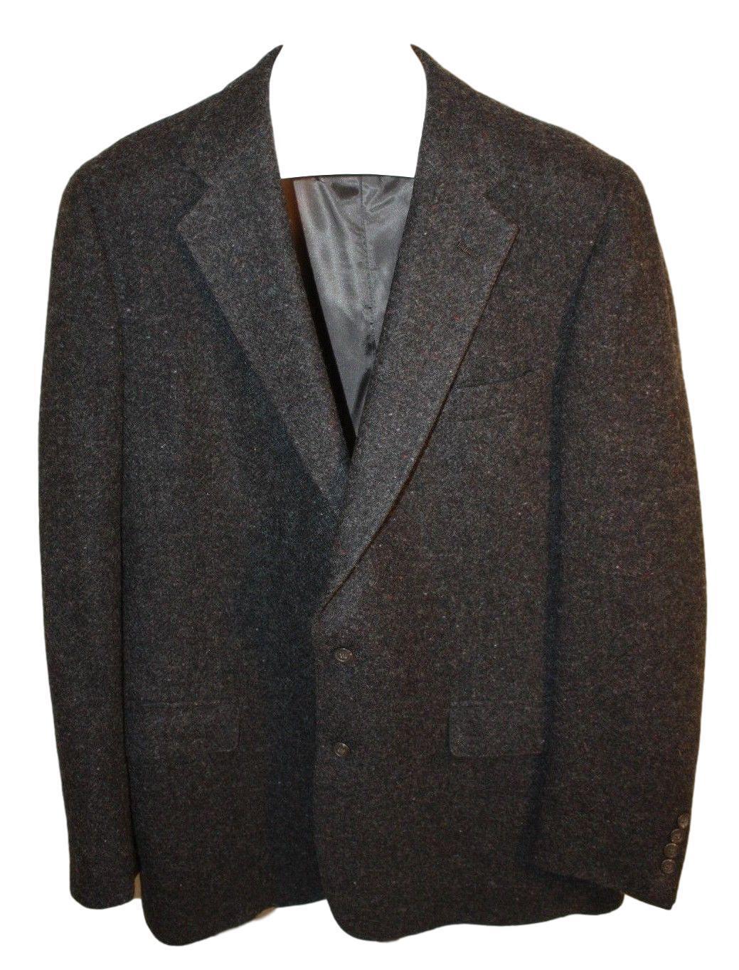 Polo University Club Ralph Lauren Mens Wool Charcoal Sport   Coat Blazer Size 44