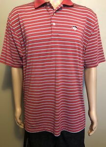 Peter-Millar-Summer-Comfort-Red-Black-White-Striped-SS-Polo-Shirt-Large-Golf