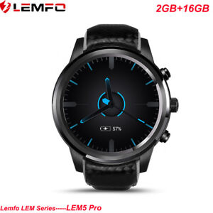 LEMFO-Negro-LEM5Pro-Reloj-Inteligente-Bluetooth-3G-SIM-16GB-Telefono-WiFi-GPS