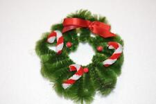 VINTAGE CHRISTMAS MINIATURE Chenille WREATH WITH Candy Cane ORNAMENT