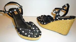 Ladies-Sz-7-5-Blk-amp-White-Polka-Dot-Strappy-Platform-Wedge-Sandal-Womens-Shoes