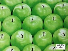 RPA164 Granny Smith Crisp Green Apples Summer Farm Market Cotton Quilting Fabric