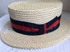 PONTE RIALTO VENICE ITALY BOATER HAT NATURAL COLOR 54cm STRAW HAT 6 3/4 XS