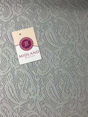 "Floral Paisley Soft Lace Mesh Crochet Semi Transparent Dress Fabric 58/"" Mtex"