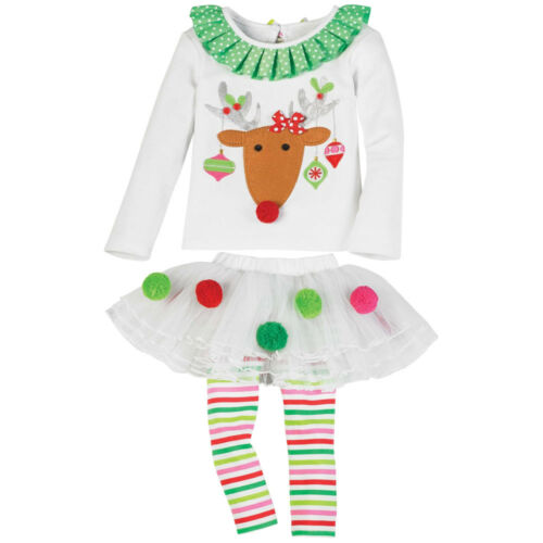 Infant Elk Pattern Striped Clothing Set  Ruffles Top Pant Dress Christmas Outfit