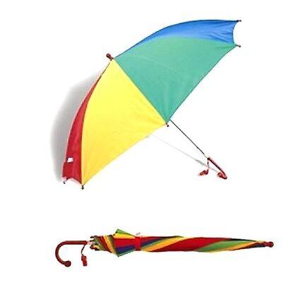 Kids Childrens Umbrella + Whistle Bright Rain Brolly Rainbow Umbrella Kids Gift