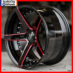 20 mq 3226 wheels black red milled accents staggered rims 5x120 fit camaro ss ebay. Black Bedroom Furniture Sets. Home Design Ideas
